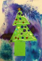 Aut 1: Christmas card artwork using 'Brusho', D shapes, handwriting patterns and finger paints.