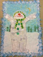 Aut 1: Collaborative art project to represent Winter. (Collaging, wax resist, printing and painting).