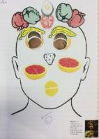 Aut 1: Create a face using fruits and vegetables in the style of Giuseppe Arcimboldo.