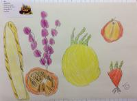 Aut 1: Observational drawing of fruit using pencil crayons.
