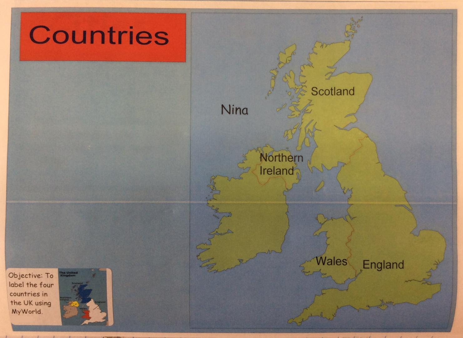 The cobbs infant and nursery school year 1 aut 2 labelling four countries of the uk using my world gumiabroncs Gallery