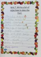 Aut 1: Write a list of adjectives to describe fruit.