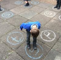 Aut 2: Recognising letters of the alphabet outdoors.
