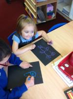 Aut 2: Using chalks to draw toys.