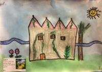 Spr 1: Developing drawing skills by creating a fairy tale setting using drawing inks and oil pastels.