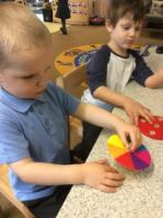 Spr 1: Exploring colour spinners that mix two primary colours  to create a new secondary colour.