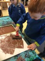 Spr 1: Making giraffe print patterns on press print polystyrene tile and adding ink.