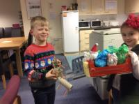 "Aut 2: Santa's sleigh and reindeer made at home. ""It's even got jet boosters at the back of the sleigh!"""