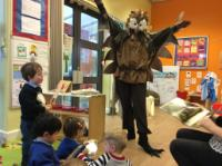 Spr 2: Enjoying a visit from Mother Owl from 'Owl Babies' for World Book Day.