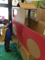 Spr 2: Painting our fire engine using a sponge.