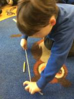 Spr 2: Which is the longest object. Children recognised that the string needed to be untangled and straightened before deciding which was the longest.