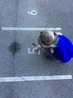 Spr 2: Writing numbers using playground markings, then attempting independently.