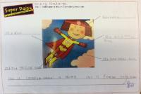 Sum 1: To label a picture of 'Super Daisy' and to write a caption.