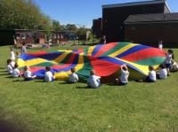 Sum 1: Working together co-ordinating movements to make the parachute move up and down.