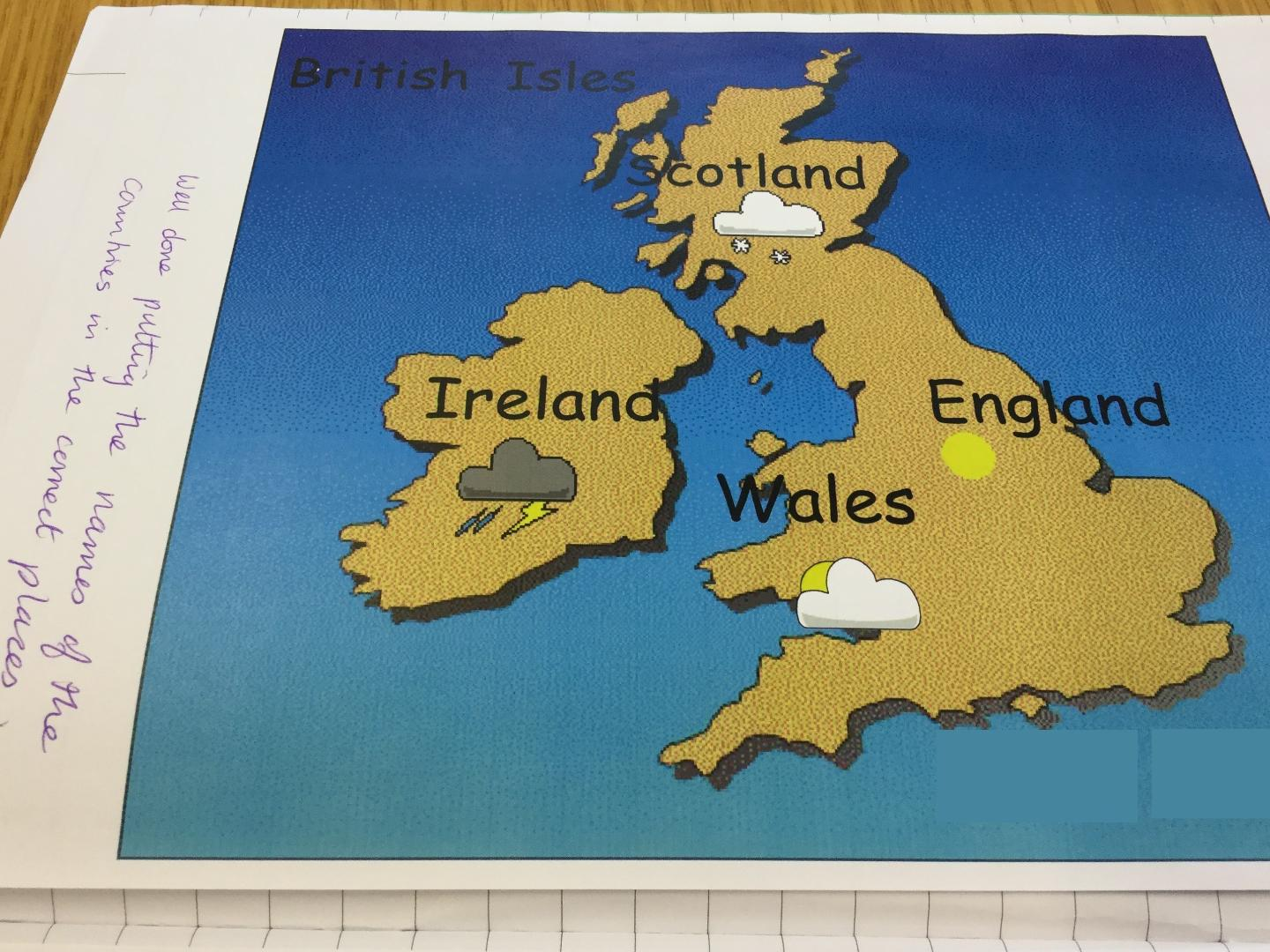 The cobbs infant and nursery school year 1 sum 2 using it to add own weather forecast and name countries on a map of the british isles gumiabroncs Gallery