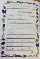 Sum 2: Writing Challenge - To write a menu for the minibeast Cafe.