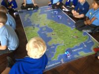 Aut 1: Using iPads to program Blue-Bots to move around world and UK maps.